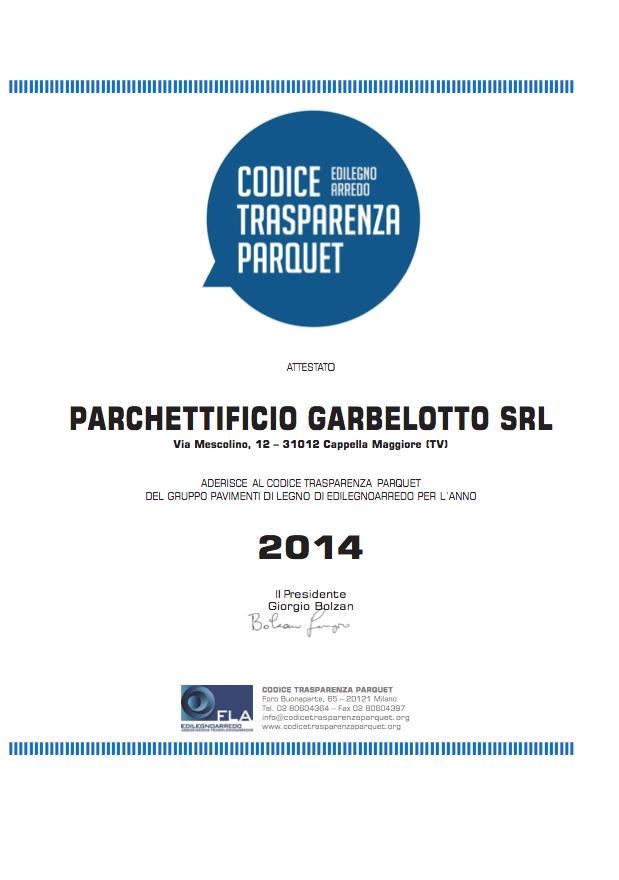 Codice Trasparenza Parquet - Garbelotto