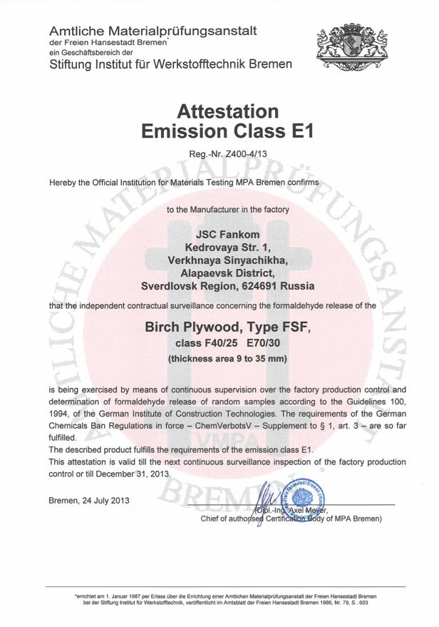 Emission Class E1 - Betulla