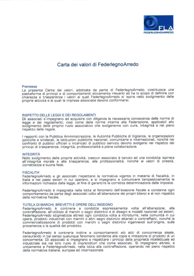 Carta Valori Federlegno Garbelotto