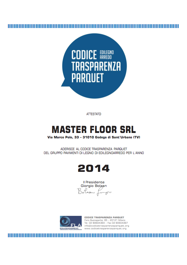 Codice Trasparenza Parquet - Master Floor