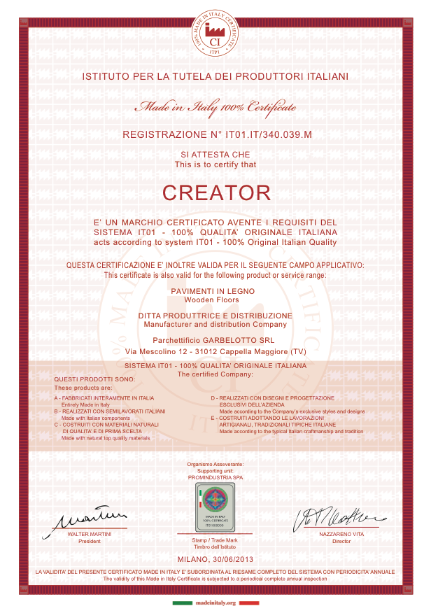 Made in Italy Certificate - Creator