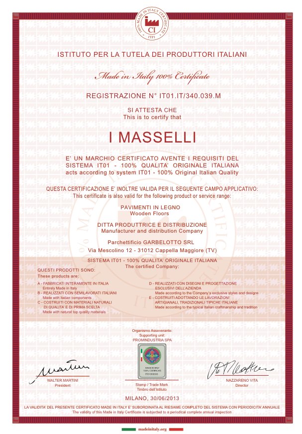 Made in Italy Certificate - I Masselli