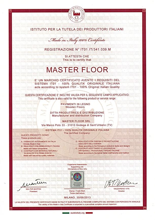 Made in Italy Certificate - Master Floor