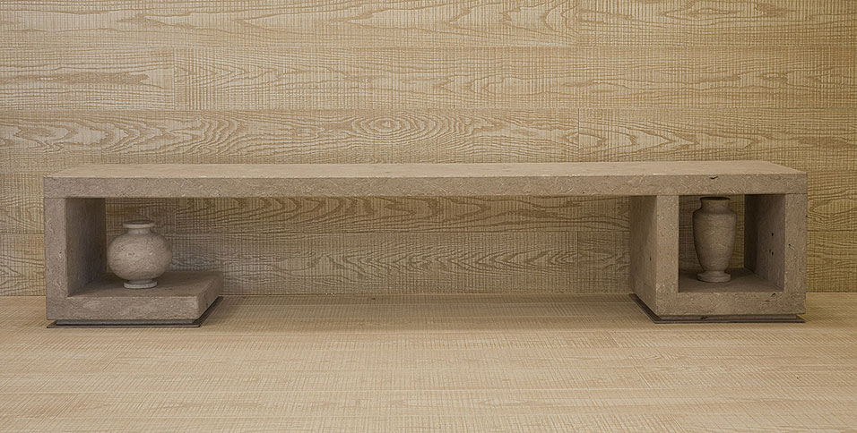 Floors and Wainscoting in Oak Ochre Venetian Waters model with Cutting Saw